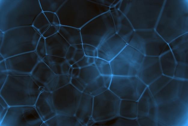 Aufnahme einer schaumigen chemischen flüssigkeit. die kette von verbindungen von mikropartikeln