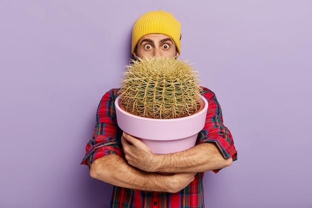 Aufnahme eines überraschten gärtners, der mit einem großen topfkaktus posiert