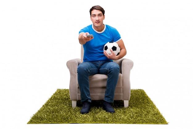 Aufpassender fußball des mannes lokalisiert