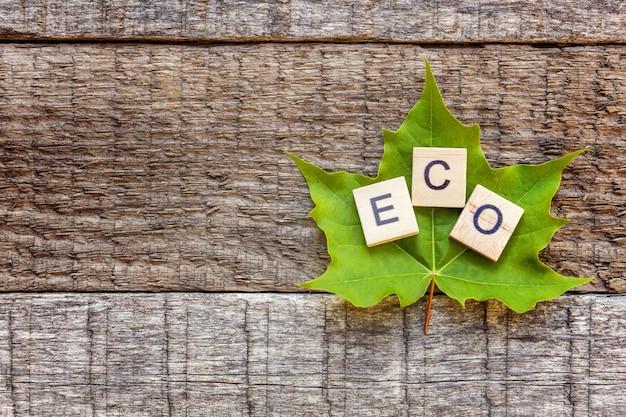 Aufschrift eco buchstaben wort und ahornblatt auf altem rustikalem holzhintergrund