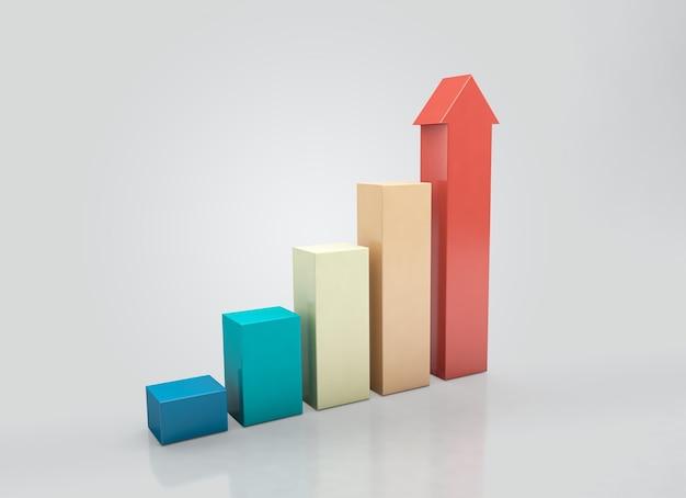 Aufsteigendes diagramm für wachstumserfolg, wirtschaftsdiagramm, histogramme, statistiken