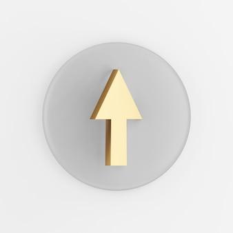 Aufwärtspfeil goldenes symbol. grauer runder schlüsselknopf des 3d-renderings, schnittstelle ui ux element.