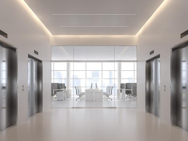 Aufzugshalle vor modernem 3d-render des büros mit weißer edelstahl-aufzugstür