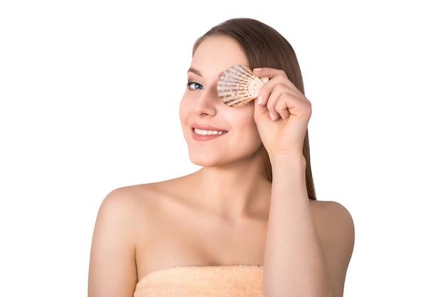 Augen weibliche muschel braun getönten