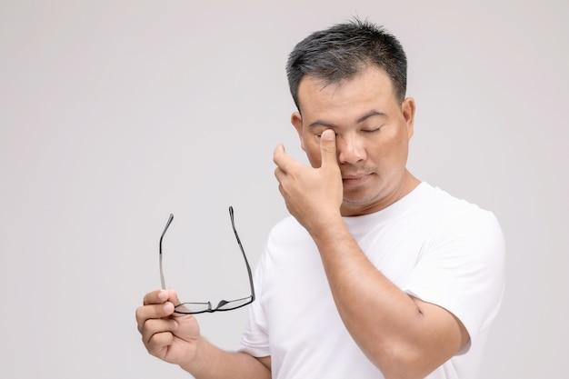 Augenreizungskonzept: porträt eines asiatischen mannes in einer haltung von augenmüdigkeit, reizung oder augenproblemen.