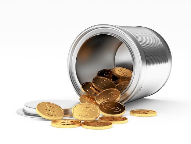 Aus der metalldose verschüttete dollarmünzen