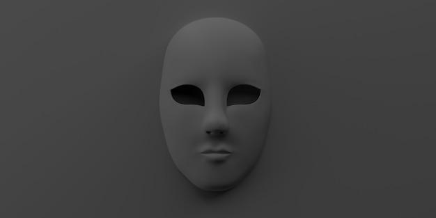 Ausdruckslose theatermaske. platz kopieren. 3d-darstellung.