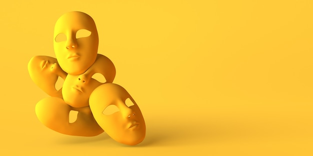 Ausdruckslose theatermasken auf gelbem hintergrund. platz kopieren. 3d-darstellung.