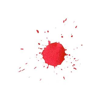 Ausdrucksvoller abstrakter aquarellfleck mit spritzern und tropfen der roten farbe.