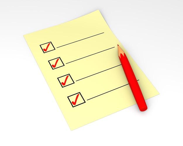 Ausgefüllte checkliste in 3d gerendert. isoliert auf weiß