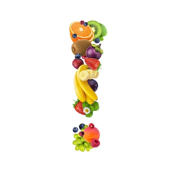 Ausrufezeichen aus verschiedenen früchten und beeren