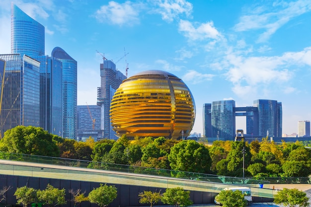 Außenpanorama stadt shanghai weg