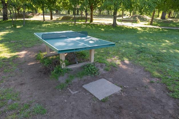 Außentische für tennis oder tischtennis in einem öffentlichen park sportbereich mit grünen bäumen und gras