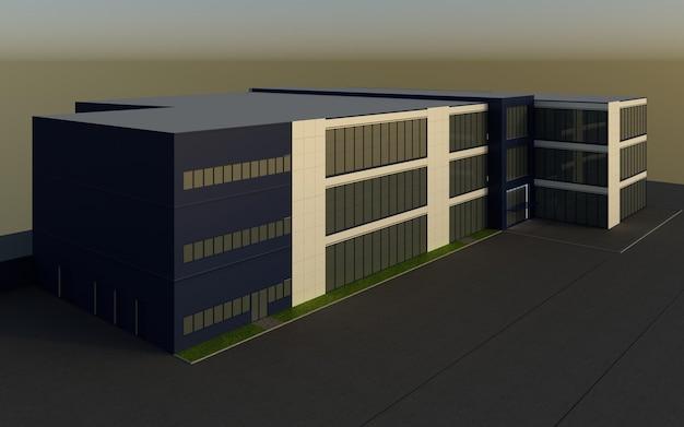 Außenzentrum des 3d-renderings, außenvisualisierung, 3d-illustration