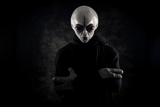 Außerirdische kreaturen haben eine botschaft für menschen. grauer humanoider typ aus einer anderen planetenporträtserie.
