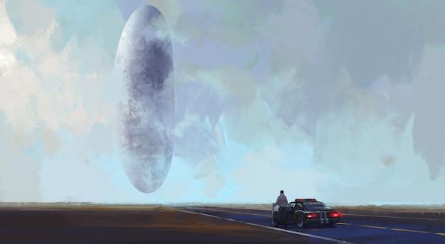 Außerirdische raumfahrzeuglandung in der wildnis, digitale illustration.