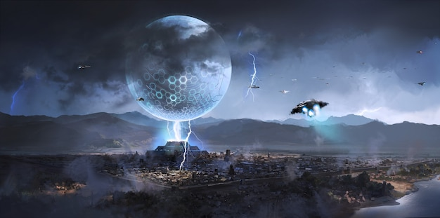 Außerirdische raumschiffe tauchten über alten städten auf, science-fiction-illustration.