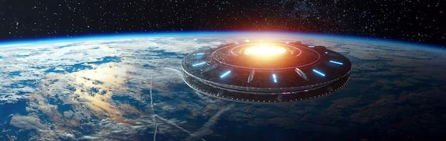 Außerirdische raumverschiebung schwebt über der erde