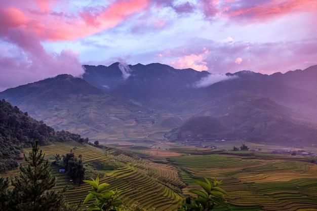 Aussichtspunkt des terrassierten reisfeldes und des berges bei buntem sonnenuntergang