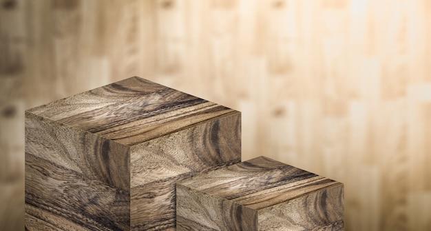 Ausstellungspodest aus hartholz in zwei schritten für ausstellungsprodukte