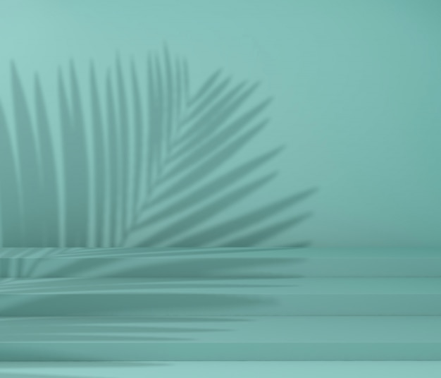 Ausstellungspodest für produktpräsentation, tropischer baumschatten