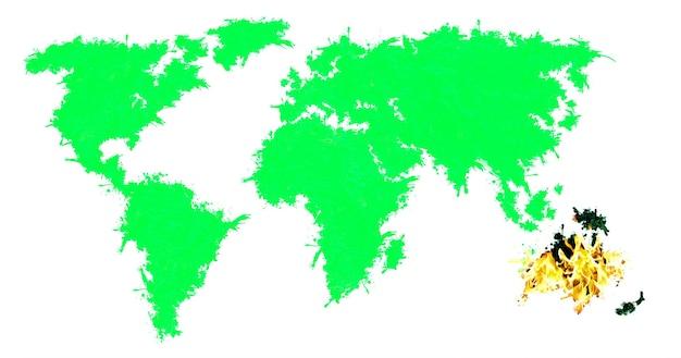 Australien brennt. grüner planet und brennender kontinent. ökologisches desaster. globale erwärmung.