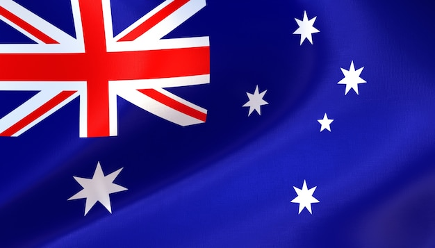 Australien-flagge 3d-rendering mit textur