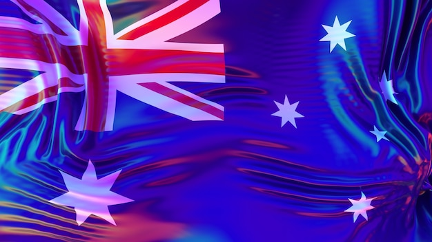 Australien-flagge mit lgbt-regenbogenreflexionen. homosexuell freundliches land. 3d-renderillustration