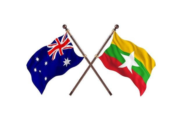Australien gegen burma-flaggen-hintergrund