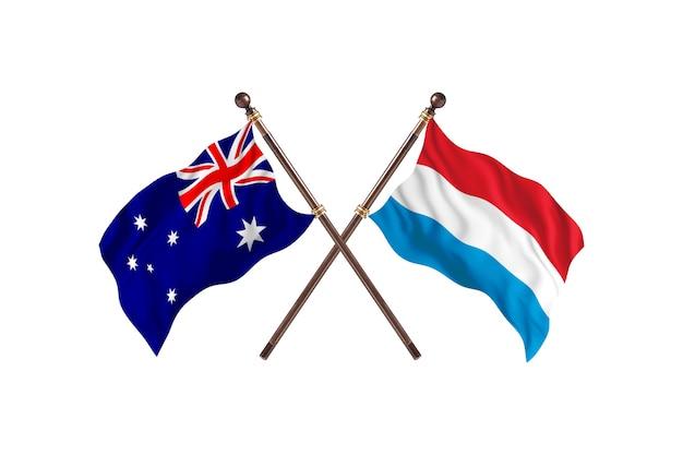Australien gegen luxemburg flaggen hintergrund
