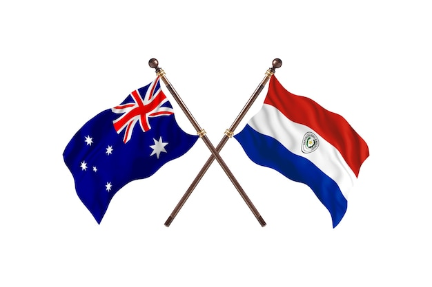 Australien gegen paraguay-flaggen-hintergrund