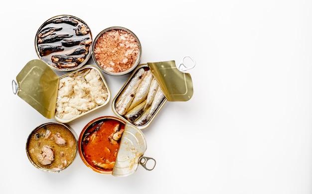 Auswahl an dosen mit konserven mit verschiedenen fischarten lachs, thunfisch, makrele und sprotten sowie meeresfrüchten vor weißem hintergrund mit kopierraum für ihren text