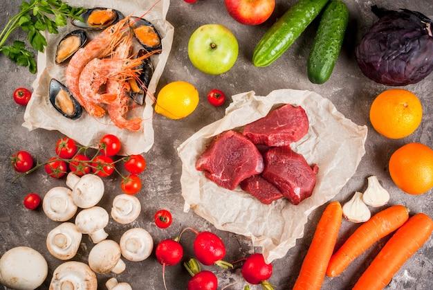 Auswahl an gesunden nahrungsmitteln