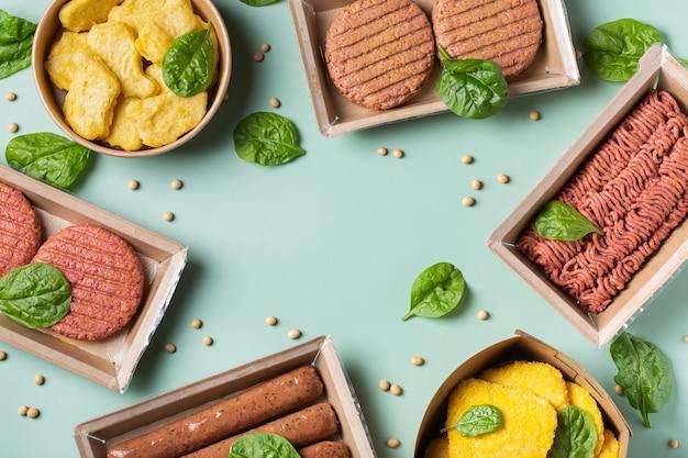 Auswahl an pflanzlichen fleischprodukten zur reduzierung des co2-fußabdrucks Premium Fotos