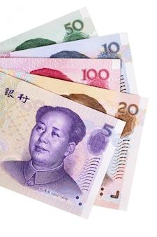 Auswahl der verschiedenen chinesischen yuan-währungsrechnungen völlig getrennt gegen weiß