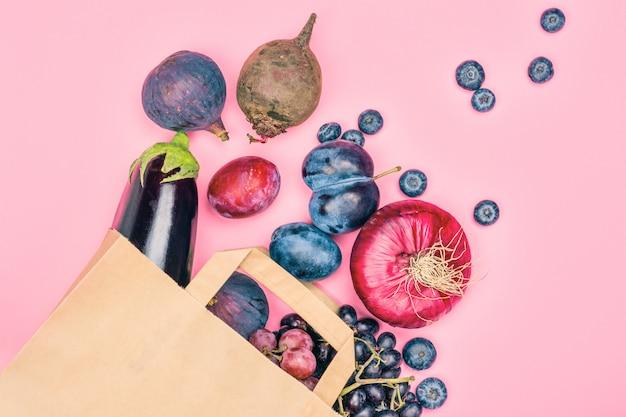 Auswahl von lila lebensmitteln