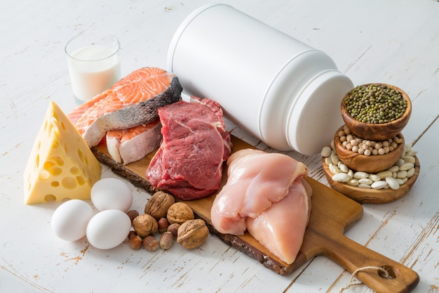 Auswahl von proteinquellen in der küche