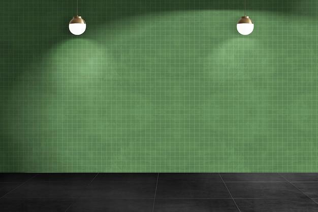 Authentische innenarchitektur des grünen leeren raumes