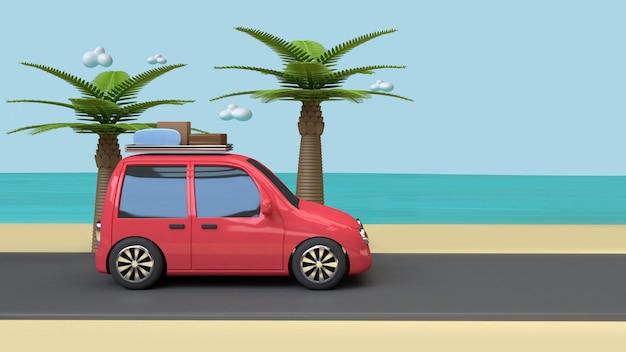Auto auf straße strand blaues meer kokospalmen cartoon-stil 3d render urlaubsreisen sommerkonzept