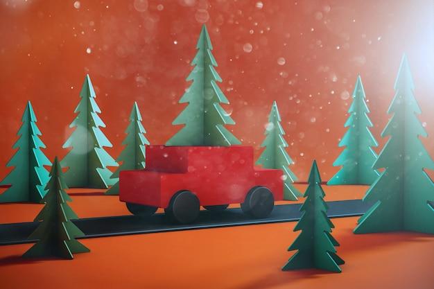 Auto der illustration 3d mit weihnachtsbaum