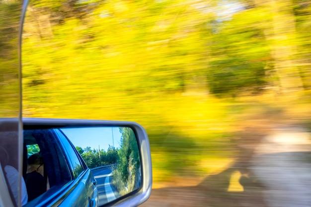Auto fährt schnell auf einer sommerstraße. fahrbahnmarkierung und büsche im rückspiegel. sonniges wetter