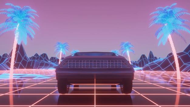 Auto im neon-cyberpunk-stil. retro-futuristische autofahrt durch die neonstadt. 3d-rendering.