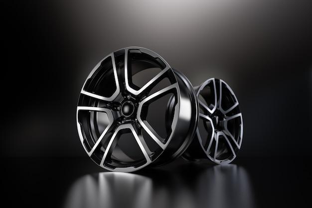 Auto leichtmetallrad, isoliert auf schwarz. 3d-rendering-illustration.