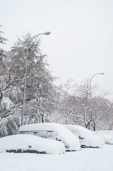 Auto mit vertikaler ansicht, das unter dem schnee in der straße geparkt wird.