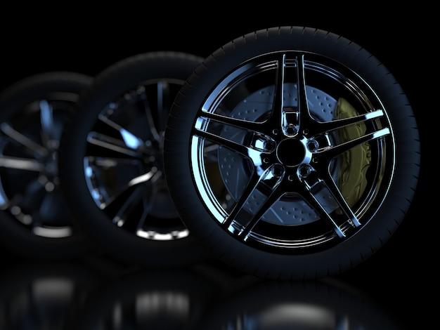 Auto räder auf einem dunklen hintergrund mit chromfelgen nahaufnahme 3d rendern
