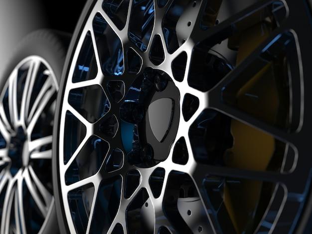 Auto räder mit chromfelgen schließen 3d-rendering