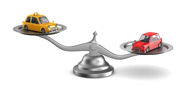 Auto und taxi auf waage. isolierte 3d-illustration