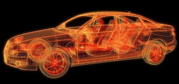 Auto wireframe auf schwarzem hintergrund