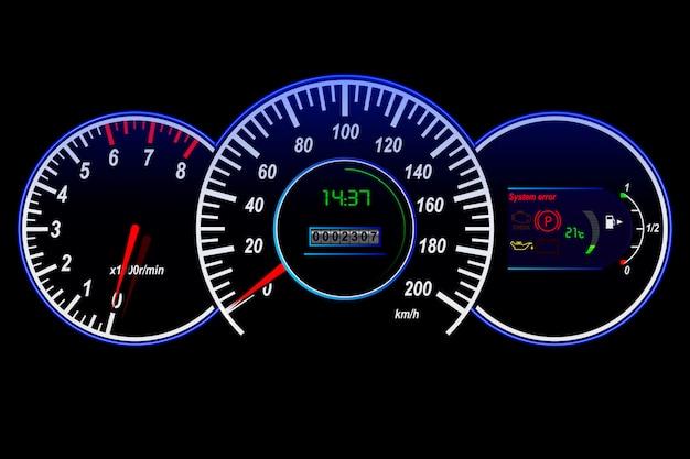 Autoarmaturenbrettgeschwindigkeitsmesser, tachometer, entfernungsmesser, temperatur und kraftstoffsensor, vektorillustration
