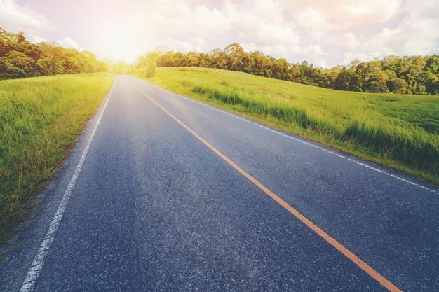 Autobahnstraße durch grünes gras unter blauem himmel.